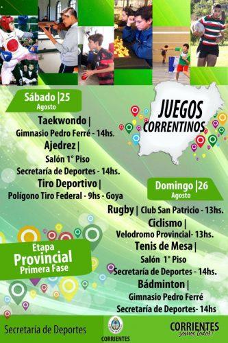 """""""Juegos Correntinos 2018"""": Inicia la primera fase de Provinciales"""