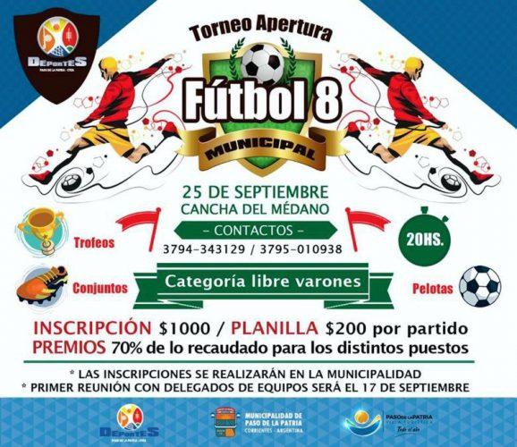 Torneo Apertura de Fútbol 8 en Paso de la Patria